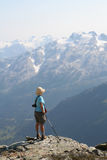 Female Hiker Standing Above Callaghan Valley. British Columbia Royalty Free Stock Photos