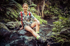 Female Hiker By Stream Royalty Free Stock Images