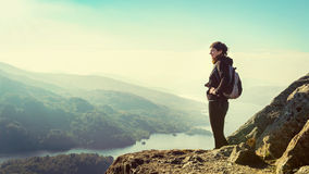 Female hiker on top of the mountain Stock Image