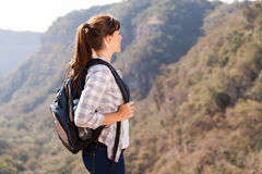 Female hiker top mountain Royalty Free Stock Photography