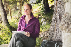 Female Hiker Using a Tablet Computer Stock Photos