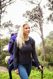 Female hiker walking with a backpack Royalty Free Stock Photography