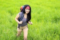 Female hiker walking in countryside meadow Stock Image