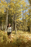 Female Hiker Walking In Forest. Young female hiker walking in forest Stock Images