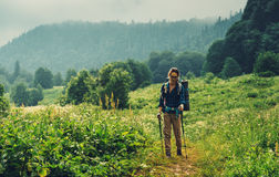Female hiker walking in mountains Stock Photos