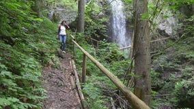Female hiker walking near waterfall stock footage