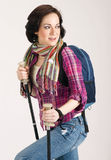 Female Hiker Wearing Scarf and Backpack Royalty Free Stock Image
