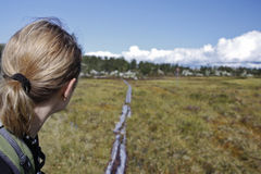 Female Hiker in the wilderness of Norway Royalty Free Stock Photo