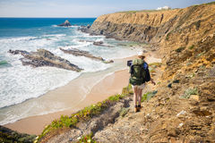 Female Hiker With Rucksack Stock Photos