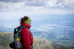 Female hikers enjoying scenic view in High Tatras. Stock Photos