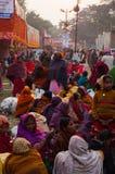 Female Hindu devotees gossiping Stock Image