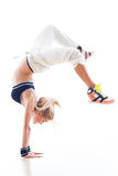 Female Hip hop Dancer. Doing Handstand stock photo