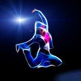 Female hip-hop dancer jump in the dark. Fractal illustration Royalty Free Stock Image
