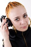 Female Hip-hop dj with headphones Royalty Free Stock Photos