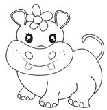 Female hippopotamus coloring page Royalty Free Stock Images