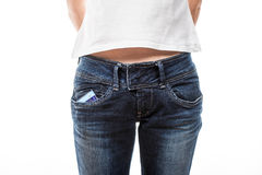 Female hips in blue jeans Stock Image