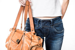 Female hips in blue jeans Royalty Free Stock Photo