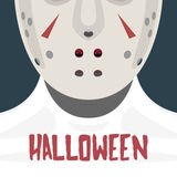 Female with Hockey Mask. Halloween Celebration Poster or Card Royalty Free Stock Photo