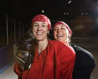 Female hockey players. Stock Photo