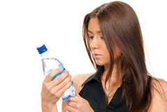Female hold sparkling mineral bottled water drink Stock Photos