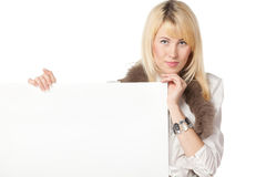 Female holding blank banner Royalty Free Stock Photography
