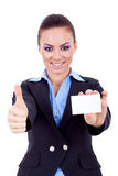 Female holding blank business card Royalty Free Stock Images