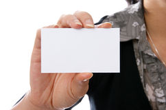 Female holding blank card. Female holding blank business card on white Stock Photos