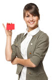 Female holding blank credit card Royalty Free Stock Photos