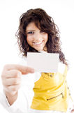 Female holding business card Royalty Free Stock Images