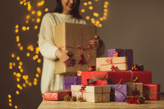 Female holding christmas gift box Royalty Free Stock Photography