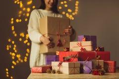 Female holding christmas gift box Royalty Free Stock Photography