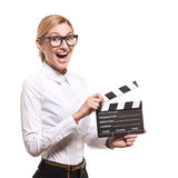 Female holding clapper board in her hands Royalty Free Stock Image