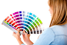 Female holding color guide Stock Image