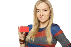 Female holding credit card Stock Images