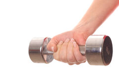 Female holding dumbbell weight. Shot of a female holding dumbbell weight angle Royalty Free Stock Photos