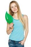 Female holding eco symbol leaf. Young female holding eco symbol leaf, over white background royalty free stock photography