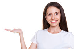 Female holding empty copyspace Stock Photo