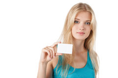 Female holding empty credit card Stock Image