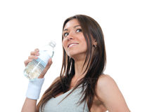Female holding in hand sparkling drinking water Stock Images
