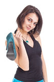 Female holding her new shoe Royalty Free Stock Photo