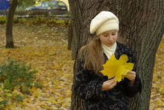 Female holding leaves Royalty Free Stock Photos