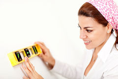 Female holding level instrument Royalty Free Stock Photography