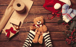 Female holding a little teddy bear Stock Photography