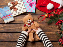 Female holding a little teddy bear Royalty Free Stock Image
