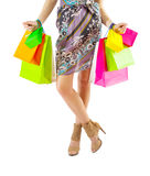 A female holding many paper bags Royalty Free Stock Photos