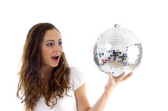 Female holding mirror ball with one hand Royalty Free Stock Photography