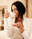 female holding a mug of coffee Stock Photos