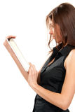 Female holding new electronic tablet touch pad Royalty Free Stock Images