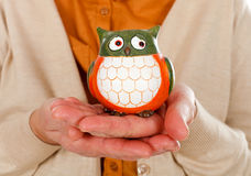 Female holding an owl. Close up picture of an elderly woman holding an owl as the symbol of wisdom Stock Images