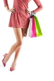 Female holding paper bags very close up isolated Royalty Free Stock Photos